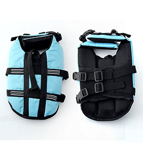 JZHY Dog Life Jacket Safety Clothes Swimming life jackets Swimwear with Adjustable Belt for Dog Pet Size M Color Blue