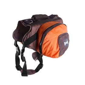 Lifeunion Collapsible Dog Pack Hound Travel Camping Hiking Backpack Saddle Bag Harness for Medium and Large Dog (Orange, L)