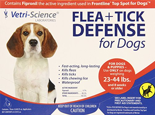 VetriScience® Laboratories – Flea and Tick Defense for Dogs and Puppies, 23 to 44-Pound, 6 Doses