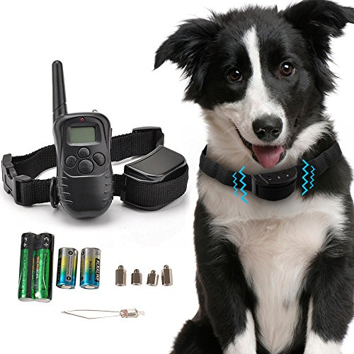 Kseven Remote Pet Dog Training Collar – Electric Shock Vibrate Trainer Rechargeable LCD, 300 Meters (328 yards/984 ft) Range Remote Control with 100 Level of Vibration + 100 Level of Static Shock