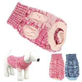 HP95 Hot! Fashion Knitted Sweater Twist Design Pet Puppy Knit Clothes (XS, Rose)
