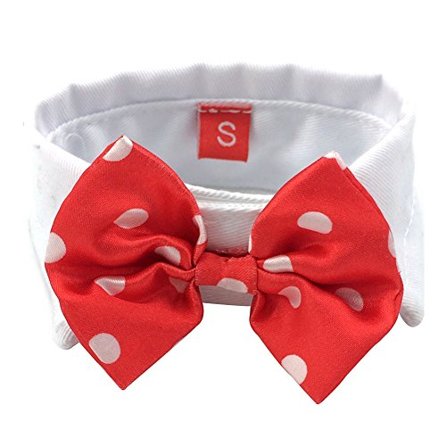 Silvercell Puppy Dog Cat Multi-Color Bow Tie Necktie Polyester Pet Collar Red+White Dot XS