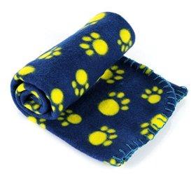 LUXMO® Pet Dog Cat Puppy Kitten Soft Blanket Doggy Warm Bed Mat Paw Print Cushion (Blue)