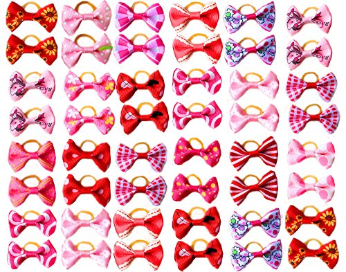 Yagopet 60pcs/30pairs New Dog Hair Bows Topknot with Rubber Bands Durable Small Bowknot Red Rose Pink Mixed for Girls Dog Pet Grooming Products Accessories