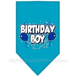 Mirage Pet Products Birthday Boy Screen Print Bandana for Pets, Large, Turquoise