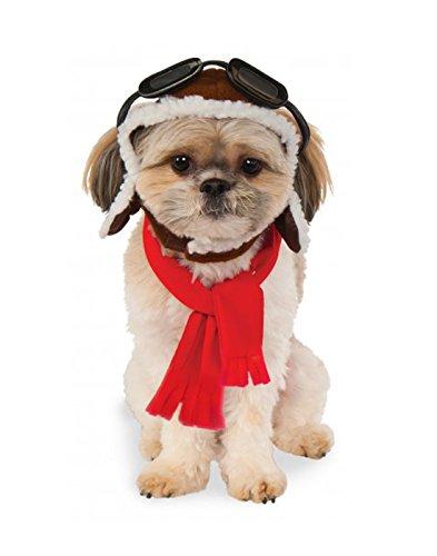 Rubies Costume Company 580222_S-M Pet Aviator Hat and Scarf Set, Small/Medium