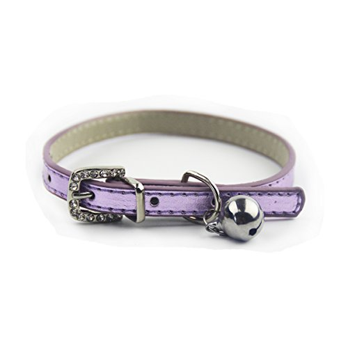 Metallic purple leather cat dog puppy small collars with bell 8-11″