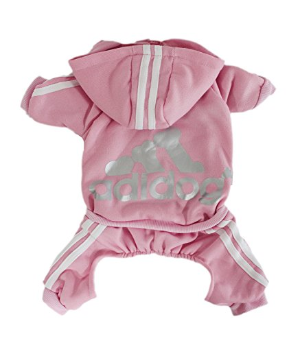 Scheppend Adidog Pet Clothes for Dog Cat Puppy Hoodies Coat Winter Sweatshirt Warm Sweater,Pink Large