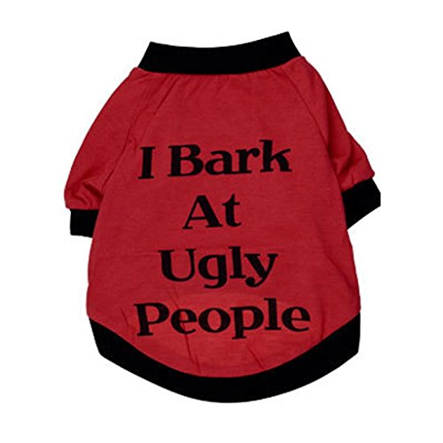 """Small-Size Dog Shirt, HP95(TM) Summer Dog Clothes, Cute Teddy Dog Cat Thin Vest, Fashion Pet Puppy Clothes Summer Cotton Costumes Pet Dog Cat Funny T Shirt """"I Bark At Ugly People"""""""