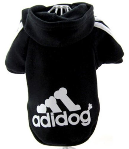 Adidog Black Dog Sweatshirt Hoodie Jacket – For Smaller Pet (M (Length: 8″))
