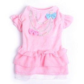 BINGPET BA1050 Cute Girl Dog Clothes Designer Puppy Dresses For Wedding Birthday , Pink XS