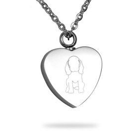 HooAMI Cremation Jewelry Dog Print Warm Heart Pet Memorial Urn Necklace Ashes Keepsake Pendant with Free Engraving