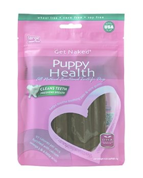Get Naked Puppy Health Dental Chew Sticks for Puppies and Dogs, Large/6.6-Ounce, 6 sticks/Pack