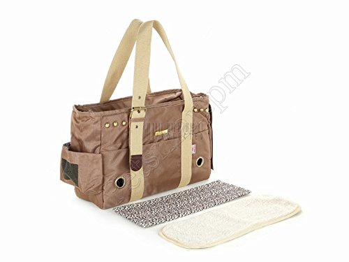 Petsmartpm 103BR Brown Stylish Nylon Dog Totes Bag Pet Carriers Purse Puppy Carriers Bag Cat Handbag Doggy Cage