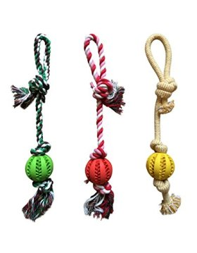 Chew Rope Toy Red for Dogs Puppies – with Strong Play Ball for Tug of War – Best for Medium & Small Breeds – Extended Warranty
