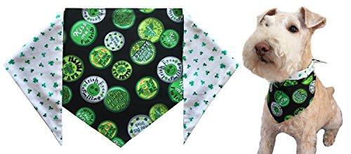 St. Patrick's Day Dog Bandana -St. Patrick's Shamrocks – Large – ties on a 14-20″ neck