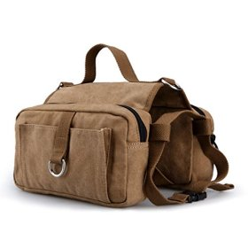 Lalawow Cotton Canvas Dog Pack Hound Travel Camping Hiking Backpack Saddle Bag Rucksack for Medium & Large Dog