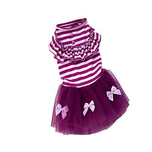 Urparcel Pet Puppy Small Dog Princess Dress Lace Bow Tutu Dress Skirt Clothes Purple Medium