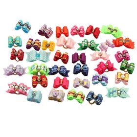 PET SHOW Mixed Styles Pet Cat Puppy Topknot Small Dog Hair Bows With Rubber Bands Grooming Accessories Assorted Pack of 20