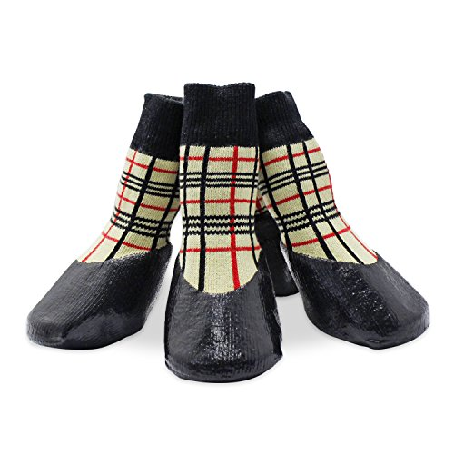 abcGoodefg® Pet Dog Puppy Socks Shoes Boots, Outdoor, Waterproof, Nonslip, Rubber Sole+Velcro Strips, Comfortable Design, XXL (#6, Plaid)