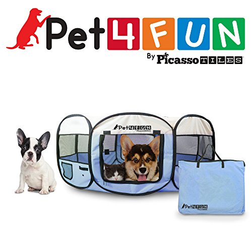 PET4FUN® PN935 35″ Portable Pet Puppy Dog Cat Animal Playpen Yard Crates Kennel w/ Premium 600D Oxford Cloth, Tool-Free Setup, Carry Bag, Removable Security Mesh Cover/Shade, 2 Storage Pockets (BLUE)