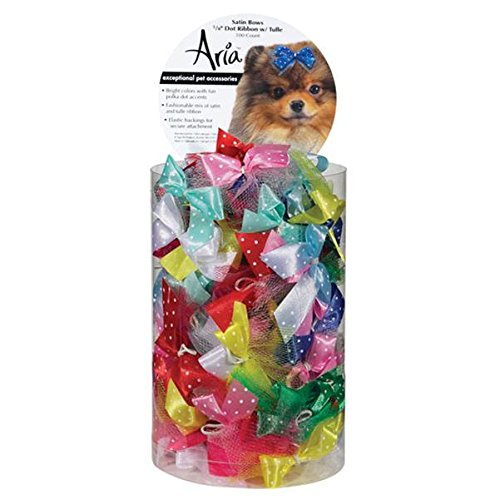 Aria Satin Acecate Dog Bows Canister, Dot Ribbon with Tulle, 100-Pack