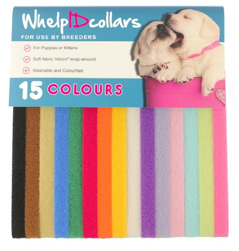 WhelpIDcollars – Puppy ID Bands – 15 Colors: Soft Fabric Velcro, Adjustable