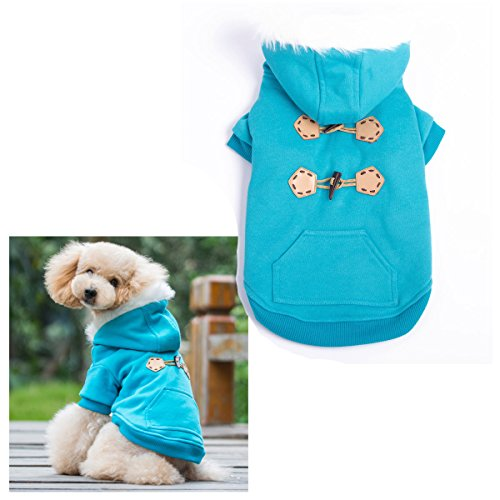 Blue Warm Winter Fashion Pet Dog clothes with hoodies luxury quality size L