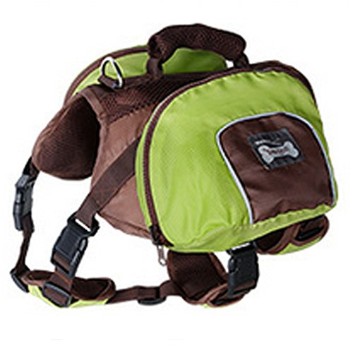 Lifeunion Collapsible Dog Pack Hound Travel Camping Hiking Backpack Saddle Bag Harness for Medium and Large Dog (Green, L)