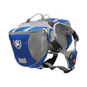 Fosinz Outdoor Dog Adjustable Backpack with Reflective Strip Dog for Dog Backpack Travel Hiking Camping(L)