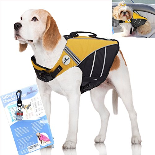 SeaDog Pro Dog Life Jacket (L) with Clip-On Water Activated LED Safety Strobe – Quick Release Doggy Life Preserver – High Quality  Adjustable Pet Life Vest. Tough Hi-Vis Nylon – Reflective Trim, Strong Grab Handle -Best Dog Flotation Vest on Amazon