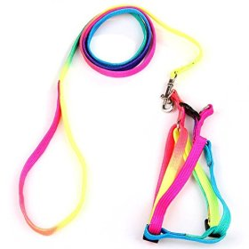 Yueton® Dog Pet Puppy Cat Kitty Adjustable Nylon Leash Rainbow Dog Chest Straps Chain Seven Color Traction Thoracic Dorsal Suits Dog Rope Dog's Leash Chain