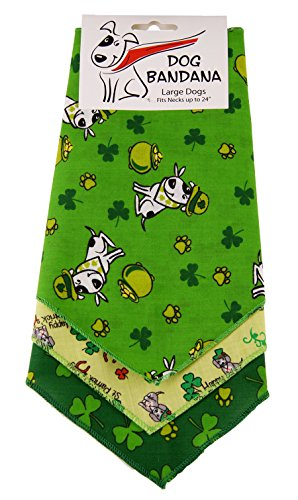 BANDANAS UNLIMITED Tie on Triangle St. Patrick's Day Bandanas for Large Dogs (3 Pack), 29″