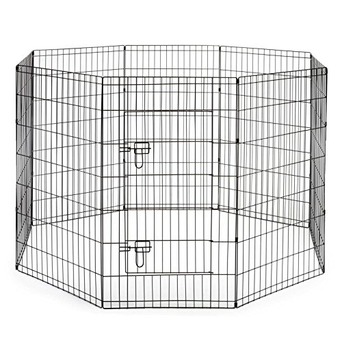 SmithBuilt Premium 8-Panel Black Dog Exercise Play Pen with Door and Carry Bag – 36 in. Tall