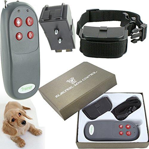 DealStock 4 in 1 Small Medium Remote Dog Training Collar Safe for Pet Shock Vibrate Light Sound Trainer Belt
