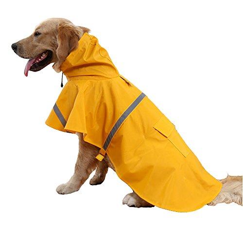 Hiado Dog Raincoat with Reflective Belt (Size Xxl, Xxlarge, Extra Large, Yellow)