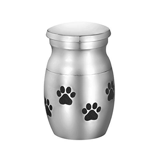 VALYRIA Pet Memorials Stainless Steel Puppy Paw Pet Cremation Urn
