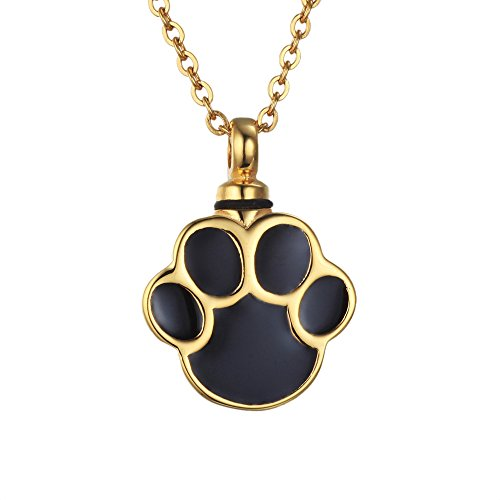 VALYRIA Gold Plated Puppy Dog Paw Print Urn Pendant Necklace Stainless Steel Cremation Jewelry