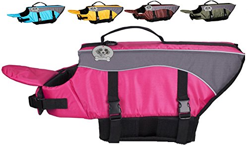 Vivaglory Dog Life Jacket Dog Lifesaver Vest Pet Reflective Life Preserver, Extra Small, Pink