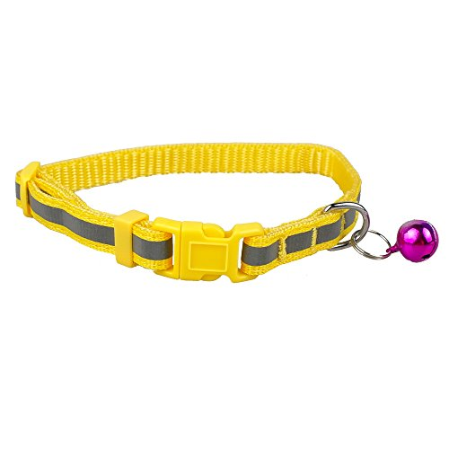 Night Safety Reflective Nylon Small Dog Puppy Collar Adjustable XS:Neck for 8-12″ Yellow