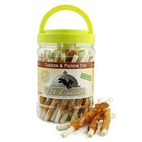 Pet Cuisine Premium Dog Treats Puppy Chews Snacks, Chicken & Pigskin Wrap Sticks, 12oz