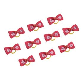Neewer 10 Pieces Red Color Dog Cat Pet Grooming Hair Headwear Decoration Bowknot Dog Paw Pattern Rubber Band