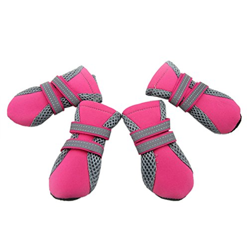 GOGO Dog Boots With Breathable Mesh, Soft Nonslip Paw Protector, 4 Piece / Set ROSERED-S