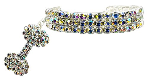 PETFAVORITES™ Couture Designer Fancy 3 Rows Rhinestones Pet Cat Dog Necklace Collar Jewelry with Bling Crystal Bone Charm Pendant for Pets Cats Small Dogs Female Puppy Chihuahua Yorkie Girl Costume Outfits, Adjustable and Handmade (Clear, Neck Size: 6″- 8″)