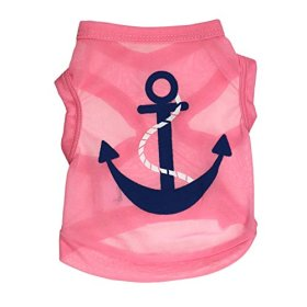 YOUR GALLERY Anchor Print Funny Cotton T-shirt Vest for Pet Dogs Summer X-Small Pink