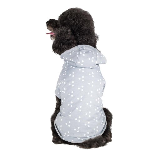 Blueberry Pet  Pack of 1 Dog Shirt 8″ Back Length Polka Dot Grey & White Dog Hoodie for Small Puppy, X-Small