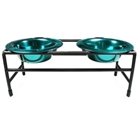 Platinum Pets Modern Double Diner Puppy Stand with Two 1-Cup Rimmed Bowls, Teal