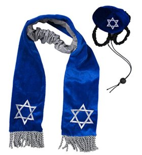 Outward Hound Kyjen  2973 Hanukkah Hat and Tallis Holiday Accessory for Dogs, Large, Blue