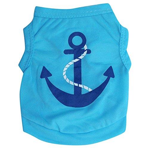 Sunward Dog T-Shirt,Pet Cats Puppy Dogs Clothing, Blue Anchor Design Pet Dog Summer T-shirt, Vest (M)