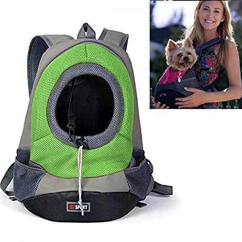 YAMAY® Soft Fabric Mesh Head Out Zipper Design Puppy Dog Pet Carrier Shoulder Carrying Bag Front Pack Backpack Dog Carriers for Small Breed Dogs Girl Boy Portable for Outdoor Travel Hiking Green